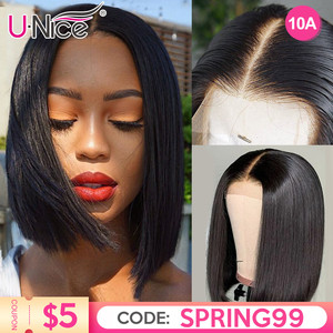 "Unice Hair 13*4/6 Lace Front Human Hair Wigs 8-14"" Straight Short Blunt Cut Bob For Black Women Deep Part Short Brazilian Wigs(China)"