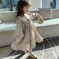 Весна 2021, Новое поступление, Цветочное платье с длинным рукавом для девочек, детские платья в Корейском стиле, платье для девочек