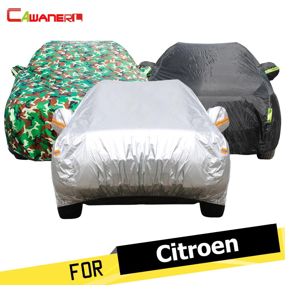 cawanerl capa de carro veiculo sol chuva neve protetor anti uv dustproof capa para citroen c