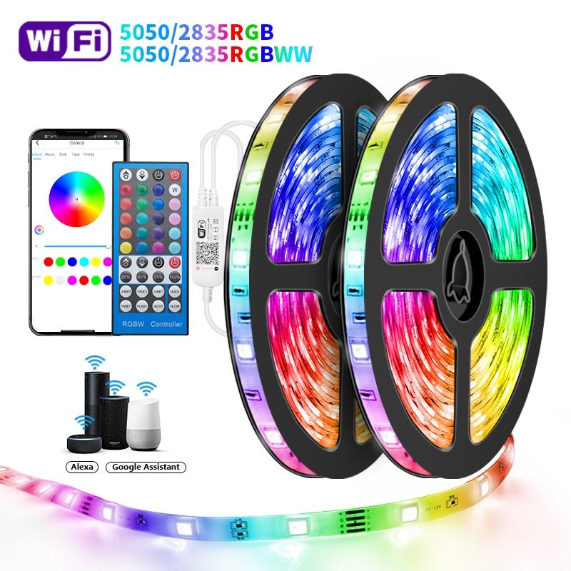 Wifi Led Strips Lights 5050 RGBWW 2835 Bluetooth Led strip Phone App Control Flexible Lamp Tape Ribbon DC12V Adapter For Alexa