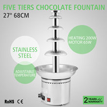VEVOR Chocolate Fountain Machine 80cm/31.5 inch Stainless Steel Auto Temperature Control 86-302℉ for Wedding Parties, 5 Tiers