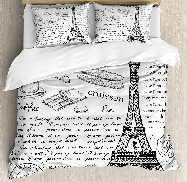 Paris Duvet Cover Set Traditional Famous Parisian Elements Bonjour Croissan Coffee Eiffel Tower Print Decorative 3 Piece Bedding