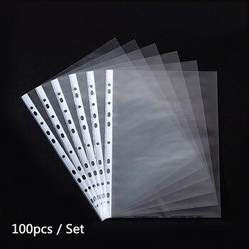 100 / package 11-hole file bag A4 transparent loose-leaf bag 3-hole 4-hole folder insert page bag protective film file folder 16 loose 15 page 3
