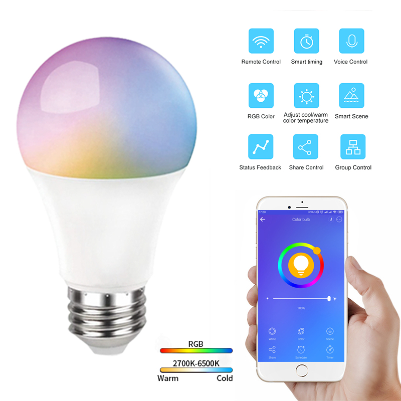 10Pcs 10W Voice Control LED Bulb Smart Bulb 806LM E27 RGB+CCT EWeLink APP Remote Control Smart Bulb Work With Alexa Google Home