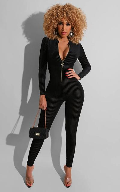 Ribbed Zipper Skinny V Neck Rompers Womens Jumpsuit Fashion Bodycon Sexy Hot Long Sleeve Solid 2020 Spring Jumpsuits 1