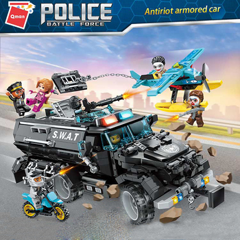 Qman 1930 Antiriot Armored Car Model Bricks Friends Toys Sets Figures Building Blocks Toy for Kids Children