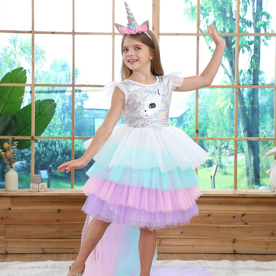 夏虹スパンコール背中の尾ユニコーンドレスガールクリスマスハロウィンユニコーン誕生日パーティー多層フリルチュチュドレス