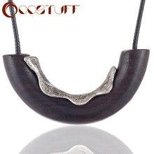 Женское Ожерелье из сандалового дерева с подвесками в форме дуги ожерелья и подвески Винтажные Украшения оптом массивные большие декорати...
