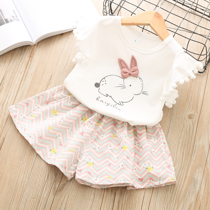 2PCS Girls Sets New Spring Summer Stripe Children Rabbit Hair Ball  T-shirt+ Shorts Cute Kids Suit Fashion 2-8T Children Clothes