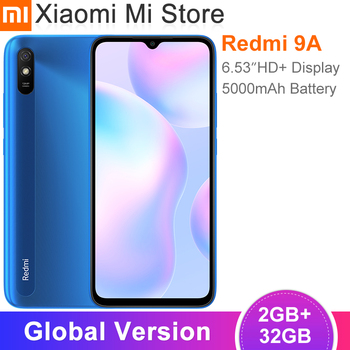 "New Global Version Xiaomi Redmi 9A Mobile Phone 2GB RAM 32GB ROM MTK Helio G25 Octa Core 6.53"" 5000mAh 13MP Camera Smartphone"
