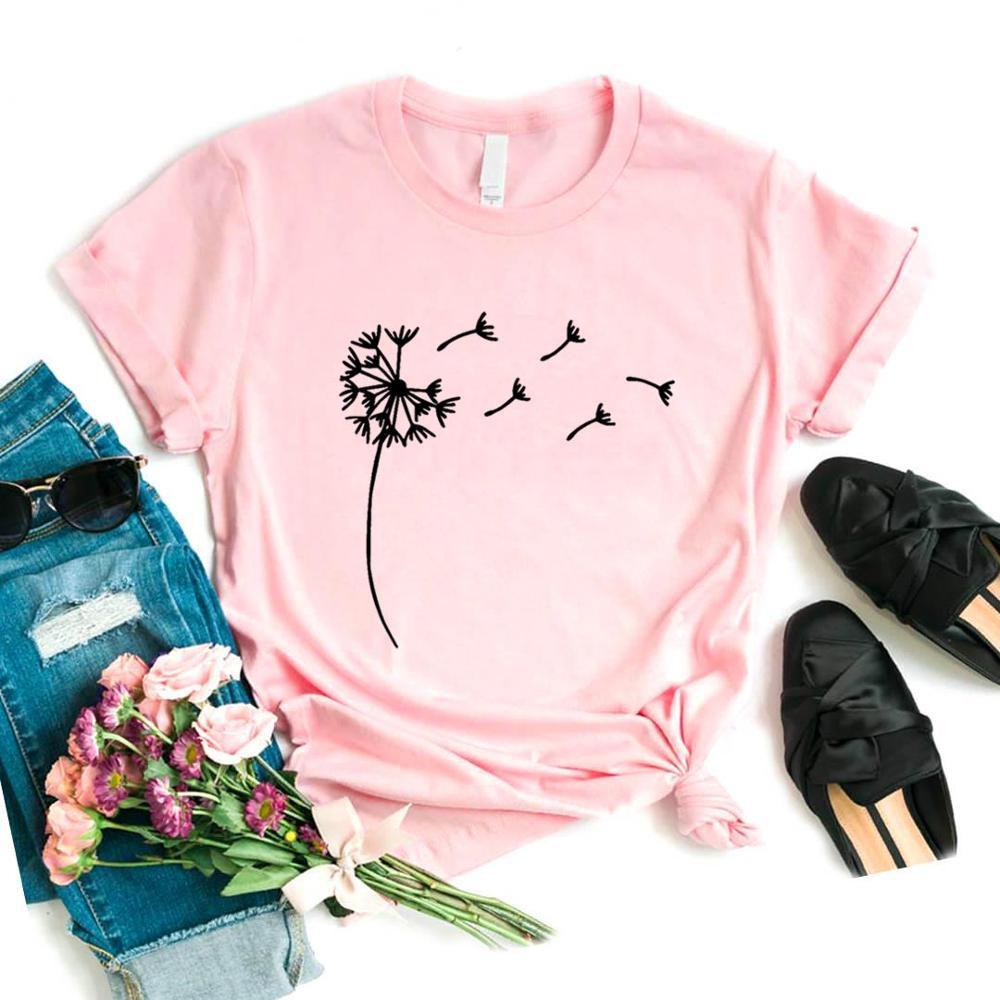 Wildflower Dandelion Print Women tshirt Cotton Casual Funny t shirt Gift For Lady Yong Girl Top Tee 3