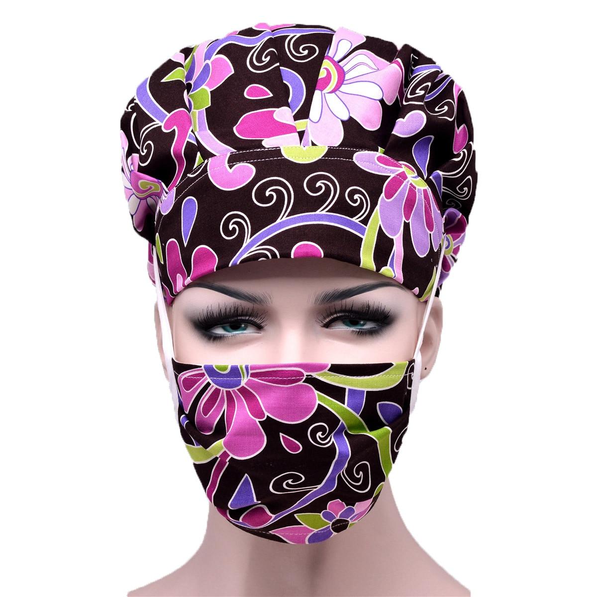 Women Hospital Cap Mask Cartoon Flower Printed Doctor Nurses Scrub Cap + Mask Surgical Surgery Work Wear Hats Mask Cotton Cover