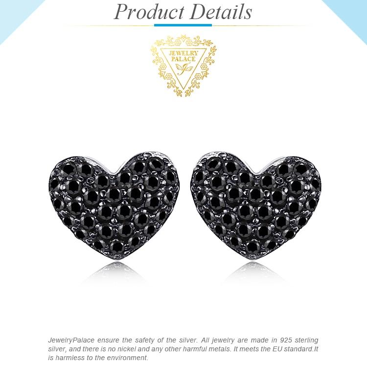 Haee3c4f7fea0497c9b03e49aad63c7d9v JPalace Love Heart Genuine Black Spinel Stud Earrings 925 Sterling Silver Earrings For Women Korean Earings Fashion Jewelry 2019