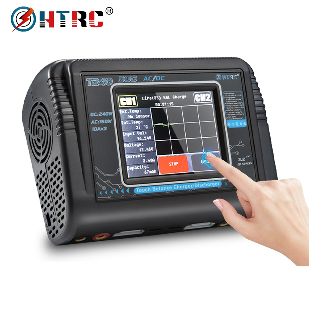 HTRC T240 DUO AC 150W /DC 240W Touch Screen Dual Channel 10A RC Balance Charger Discharger For LiPo LiHV LiFe Lilon NiCd NiMh Pb