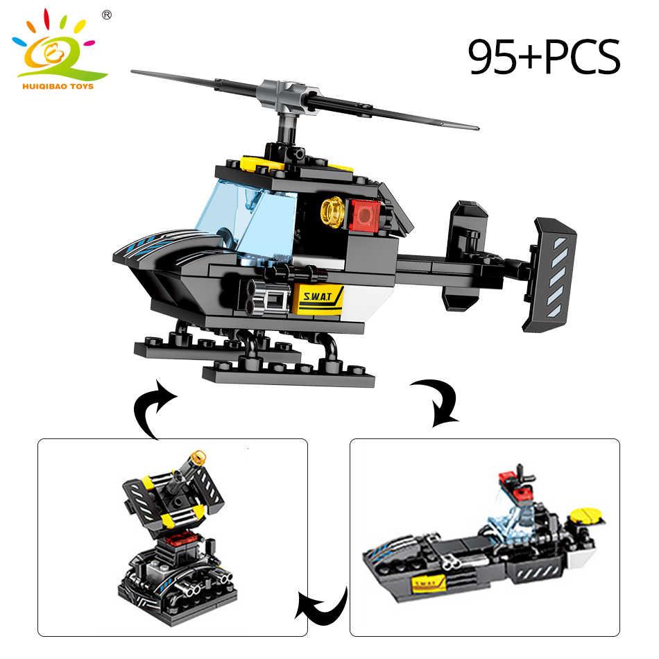 HUIQIBAO 695PCS 8in1 SWAT משטרת פיקוד משאית אבני בניין עיר מסוק דגם ערכת לבנים חינוכיים צעצועים לילדים