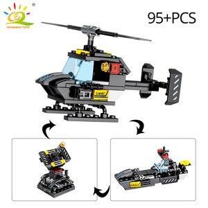 Image 4 - Huiqibao 695 個 8in1 swat 警察コマンドトラックビルディングブロック都市ヘリコプターモデルレンガキット教育玩具子供のため