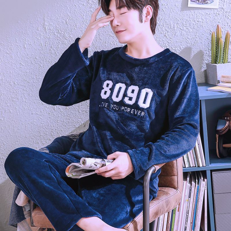 H5747 Autumn Winter Coral Fleece Pajamas Men Long Sleeve Plus Velvet Sleepwear Male Flannel Comfortable Casual Nightwear Suit