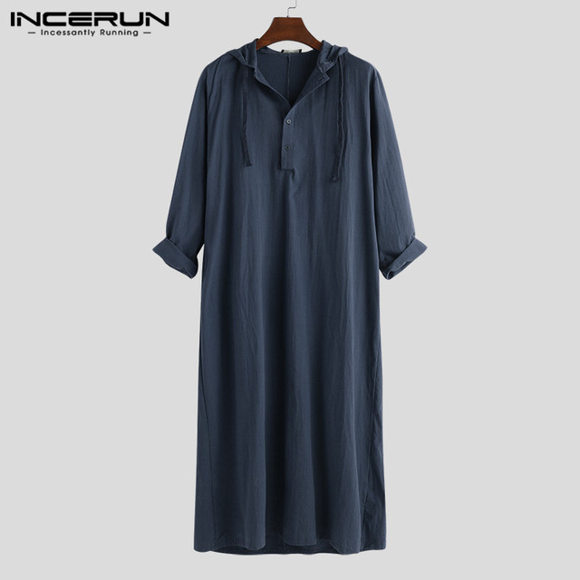 الهيب هوب نمط الرجال الملابس الإسلامية ثوب رداء مسلم قميص هوديس رداء السعودية العربية طويلة الأكمام قميص قفطان طويل Jubba ثوب Homb8 3