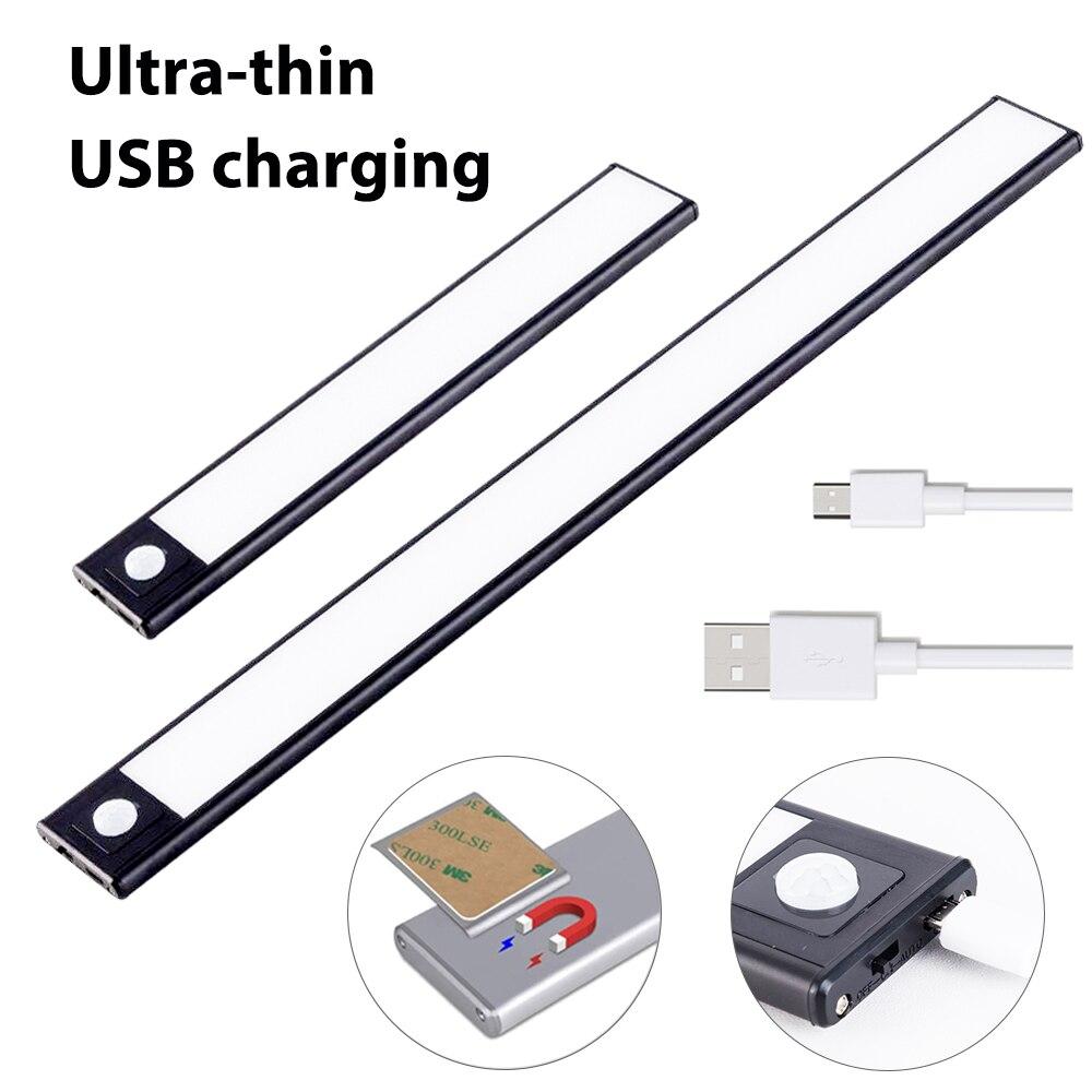 Ultra-fino usb led gabinete iluminação 3 modos pir sensor de movimento led recarregável preto alumínio armários de cozinha luzes iluminação