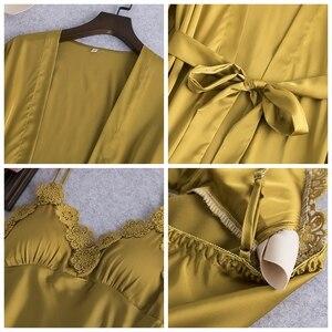 Image 4 - JULYS şarkı 5 adet kadın pijama setleri zarif seksi dantel sahte ipek pijama kadın leke ilkbahar yaz sonbahar elbise ev tekstili