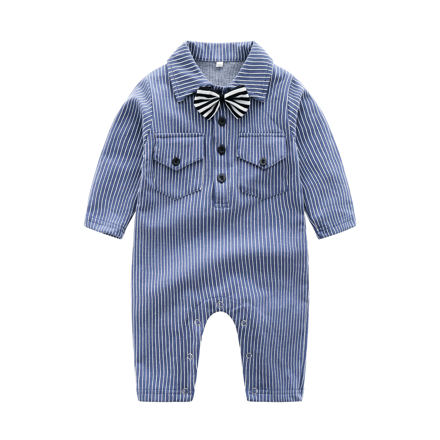 Korean-style CHILDREN'S Clothing Hot Selling Men And Women Baby Stripes Fold-down Collar One-piece Crawling Clothes Autumn And W