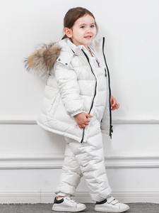 Jacket Two-Piece Girls Boys Children Pants Down-Suit Winter Solid Zipper White-Duck-Down
