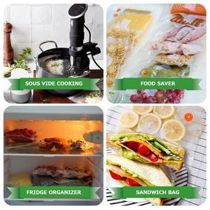 Image 3 - を taili 再利用可能な真空セーバー袋食品収納袋圧縮袋生鮮食品をキープ & おいしいスー vide ため調理冷蔵庫オーガナイザー