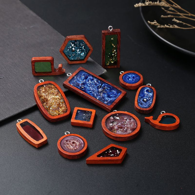 13pcs Handmade Blank Hollow Red Wood Cabochon Frame Round Square Wooden Resin Frame Necklace Pendant Resin Jewelry Making