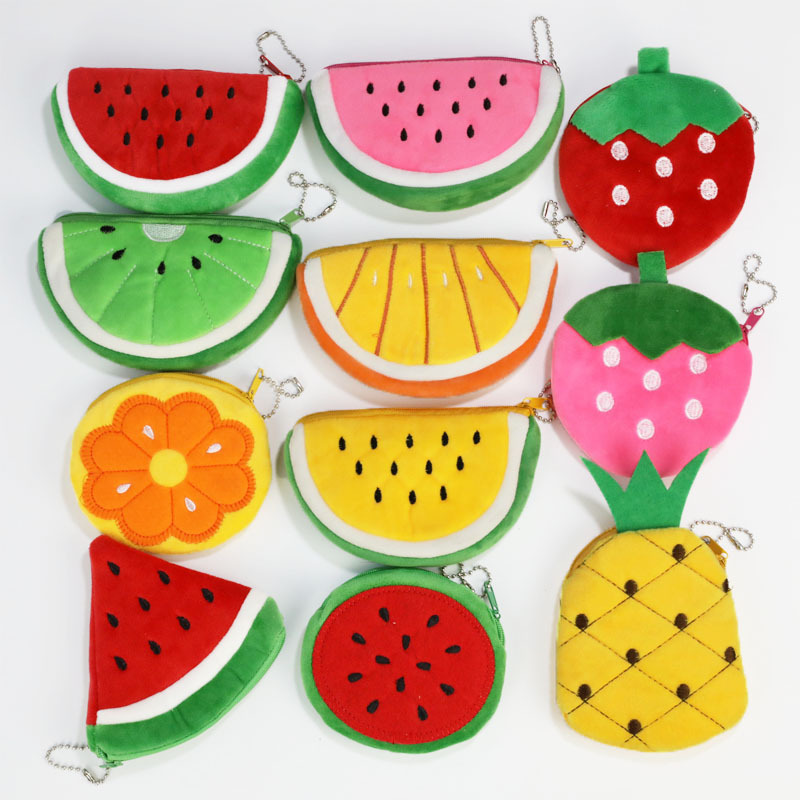 Children Simulation Fruit Coin Bag Embroidered Plush Coin Purse Coin Bag Colorful Children's Fruit Chain Wallet