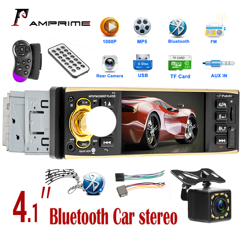 AMPrime 1 din car radio Support Bluetooth Autoradio FM AUX USB SD Card Rear View Camera with Steering Wheel Control 4.1'' player image