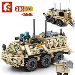SEMBO 308 sztuk wojskowe serii medyczne Rescue pojazdu klocki pancerne pogotowia broń armii ww2 cegły zabawki dla dzieci