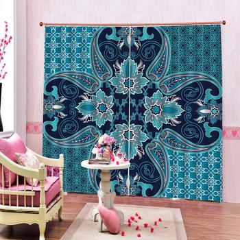 blue curtains Luxury Blackout 3D Window Curtains For Living Room Bedroom Customized size personality curtains