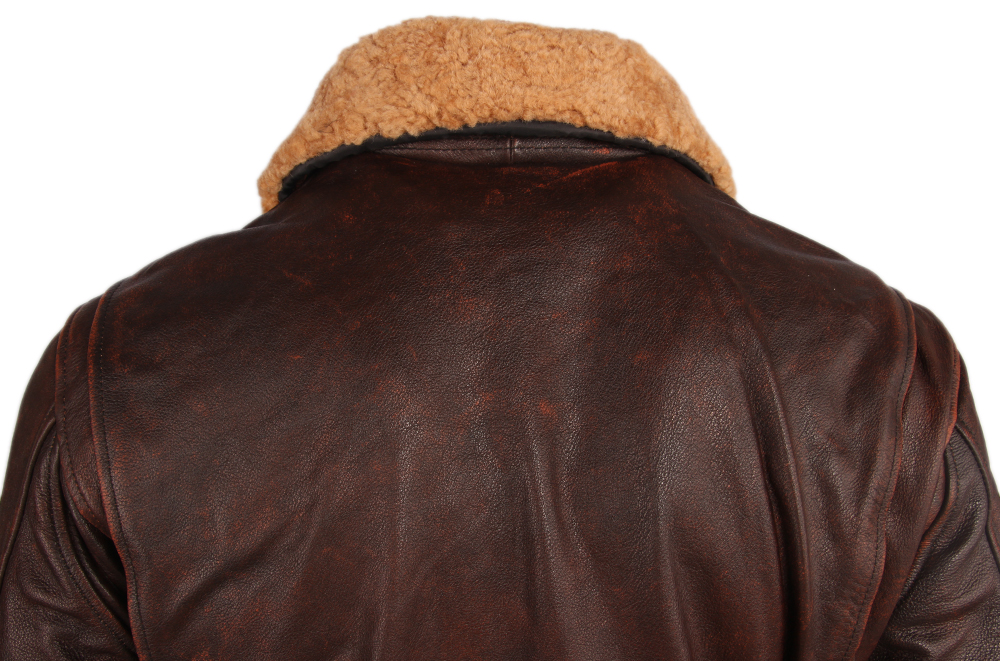 Haee4823149834b8a8345ae3044ec0762Y Vintage Distressed Men Leather Jacket Quilted Fur Collar 100% Calfskin Flight Jacket Men's Leather Jacket Man Winter Coat M253