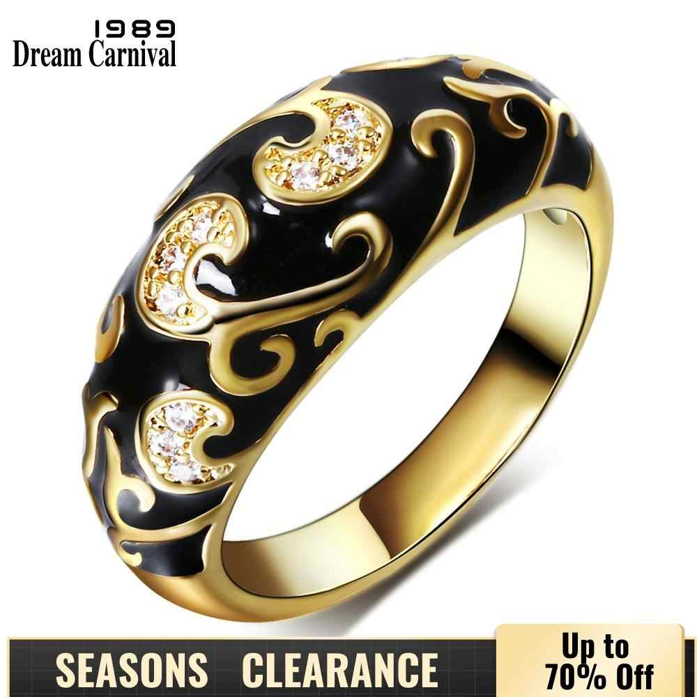 DreamCarnival1989 New Carved Design Popular Engagement Ring for Women Gold-color Black Epoxy Vintage Wedding Jewelry Anillo Moda