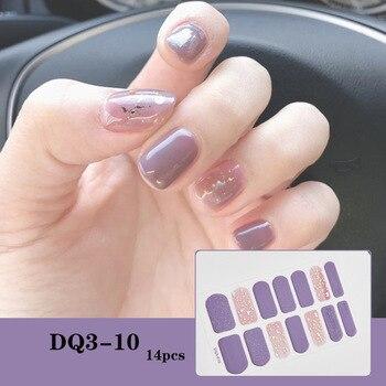 14pcs/sheet Glitter Gradient Color Nail Stickers Nail Wraps Full Cover Nail Polish Sticker DIY Self-Adhesive Nail Art Decoration 65