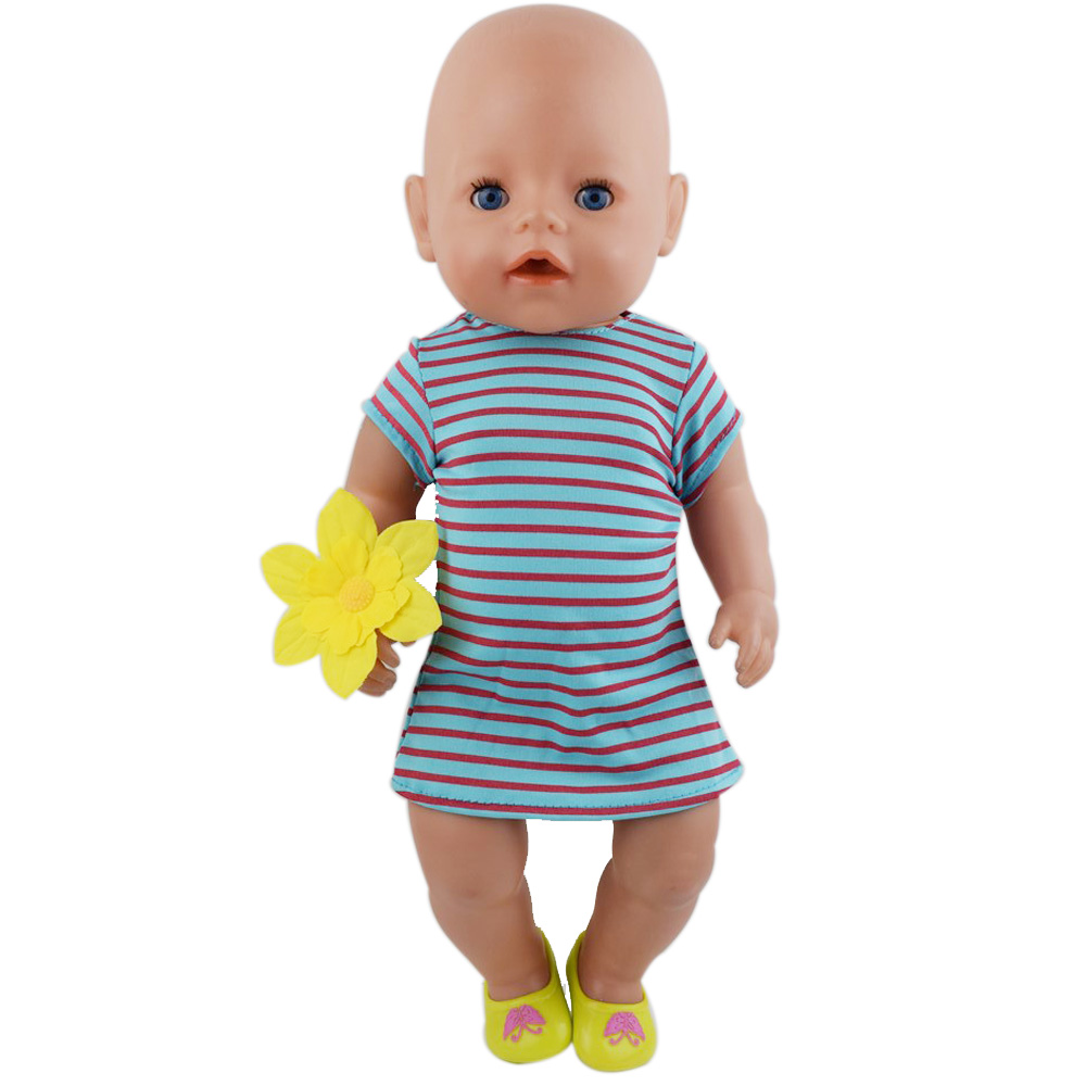 New Dress For 43cm Baby Doll Cute Jumpers Rompers 17 Inch Zapf Doll Clothes