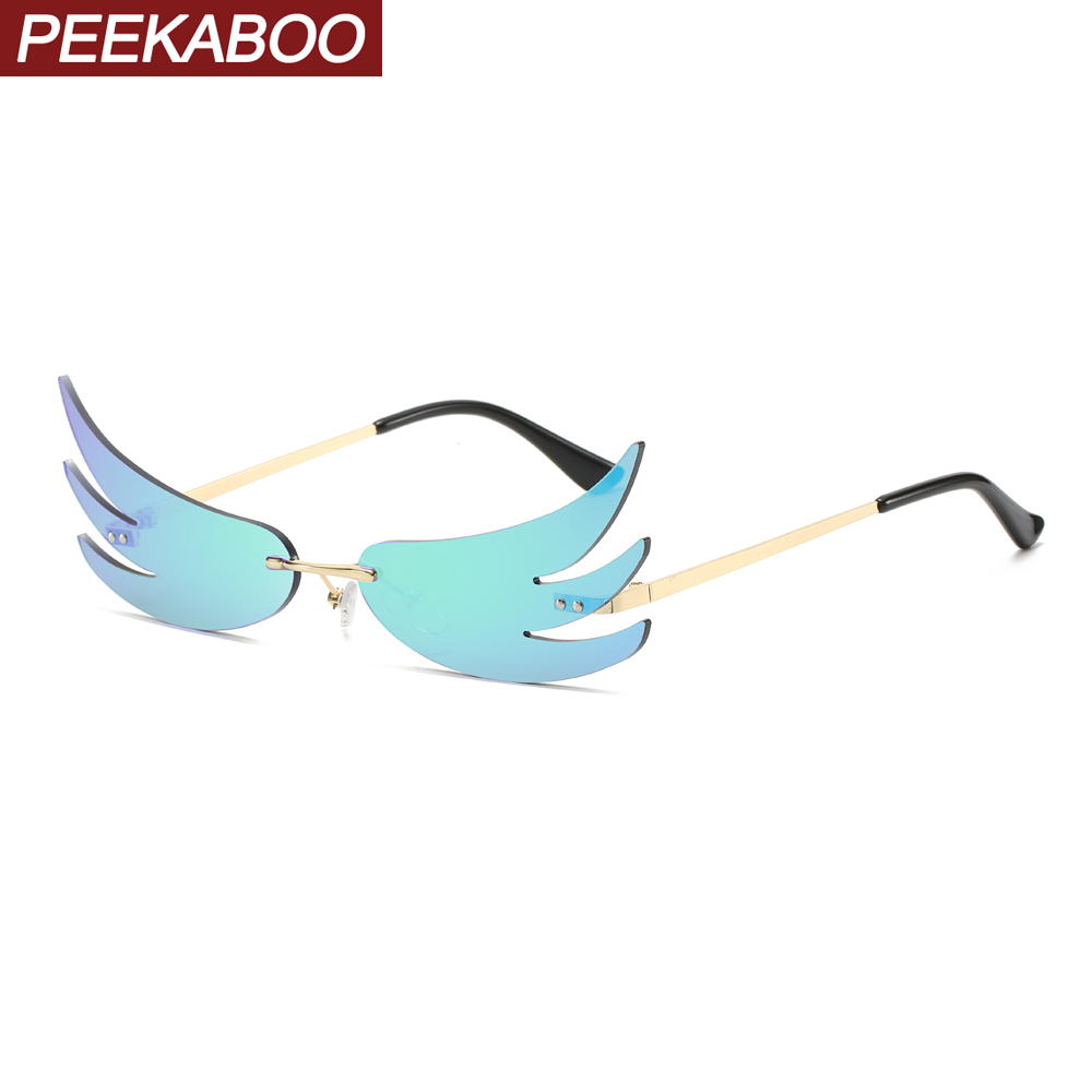 Peekaboo Women Vintage Sunglasses Fire Mirror Lens Green Red Ladies Cat Eye Sun Glasses For Men 2020 Beach Party Gift Items