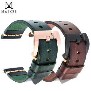 Image 1 - Maikes Watch Accessories Genuine Leather Watchband 20mm 22mm For Samsung Gear s3 Replacement 18mm PUNK Watch Strap Bracelets