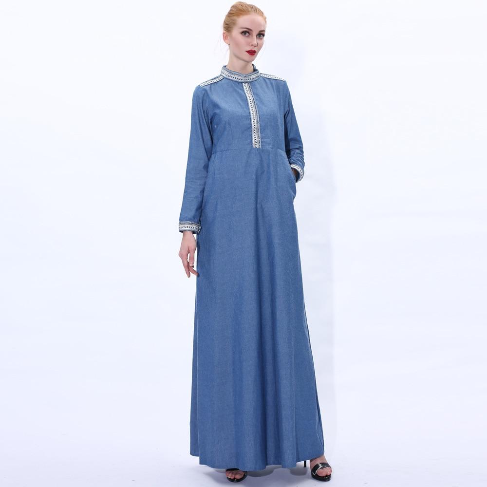 Denim Abaya Hijab Muslim Dress Women Turkish Dresses Kaftan Islam Pakistani Arabic Robe Musulmane Caftan Abayas Islamic Clothing