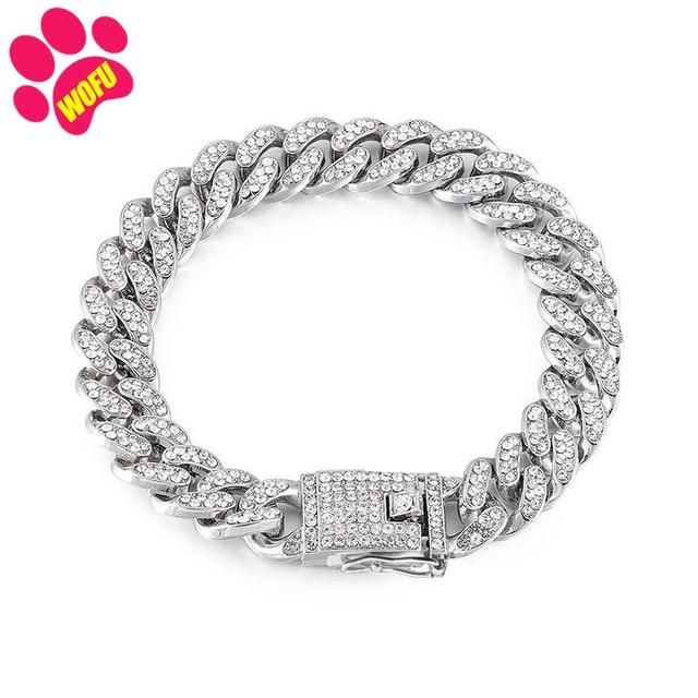 Pink Diamond Stainless Steel Blinggy Pet Collar  4