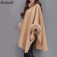 Woherb 2019 Winter Fur Neck Coat Women Plus Size Long Cloak Casual Loose Ladies Jacket Warm Cape Coats Abrigos Mujer 20392