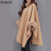 Woherb 2019 Winter Fur Neck Coat Women Plus Size Long Cloak Casual Loose Ladies Jacket Warm Cape Coats Abrigos Mujer 20392