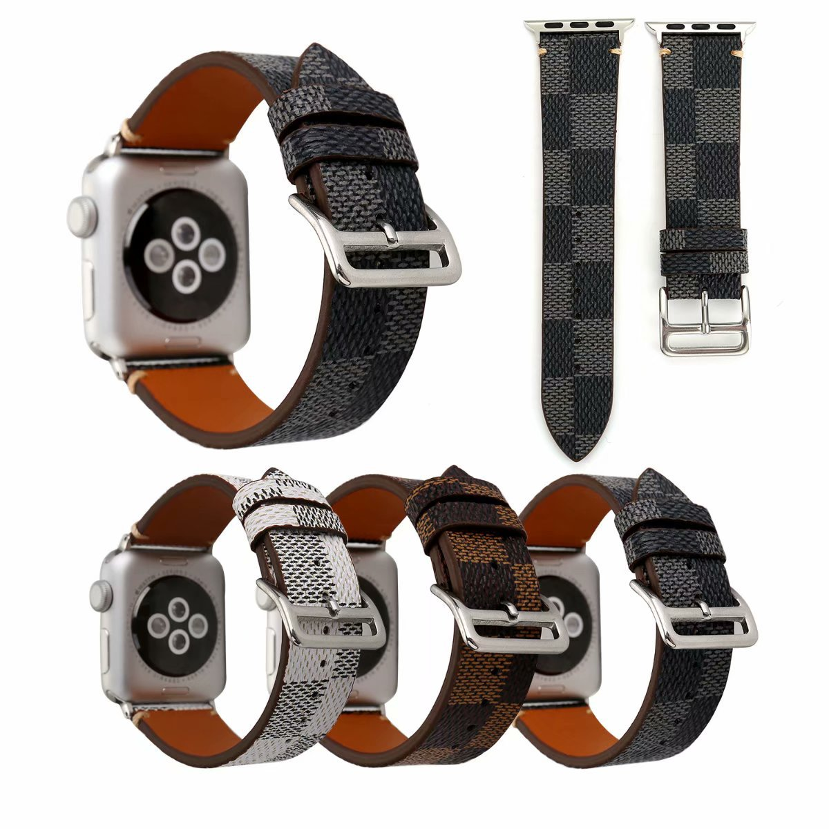 Applicable APPLE Watch Leather Watch Strap Classic Pattern Apple Watch Strap IWatch Square Lattice Wrist Strap