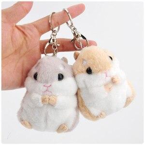 Śliczne pompon Hamster 10cm brelok piękny puszysty Cartoon fałszywy królik futro torba dla zwierząt uroki zwierząt mysz brelok do kluczyków samochodowych