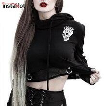 InstaHot Black Skull Printed Back Hoodies Long Sleeve Gothic Punk Halloween Fastival Clothes Autumn Streetwear Harajuku Hoodie
