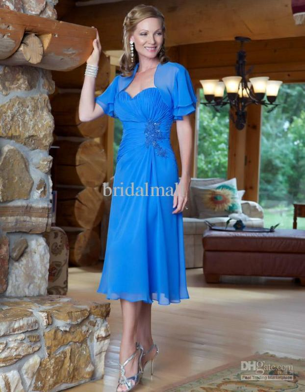 Free Shipping 2016 Free Jacket Customized Sweetheart Neckline Tea Ruched Length Chiffon Blue Short Mother Of The Bride Dresses