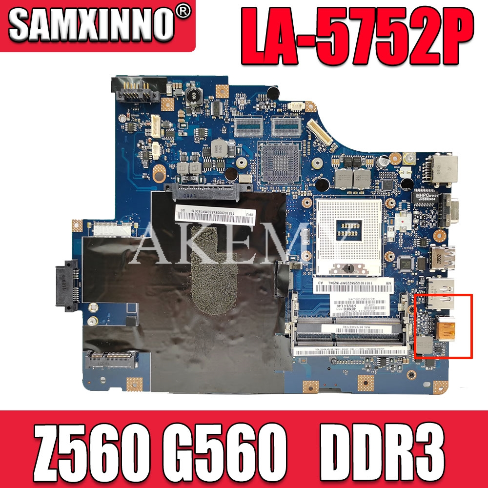 AKEMY NIWE2 LA-5752P Main board For Lenovo Ideapad Z560 G560 laptop motherboard DDR3 Without HDMI Port image