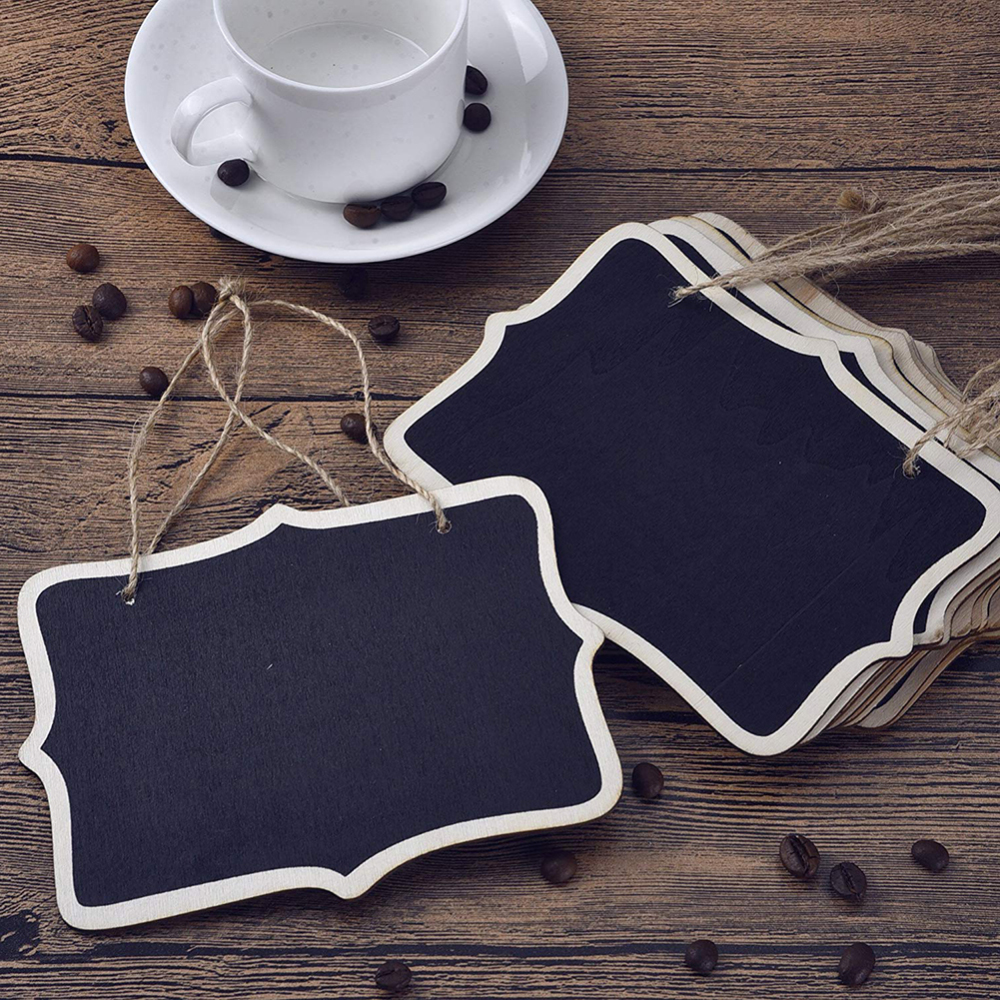 Hanging Chalkboard Mini Double Sided Hanging Chalkboards Blackboard With String Message Black Board Office School Supplies 36pcs