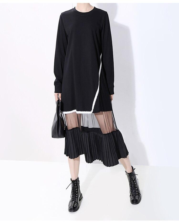 New Fashion Style Black Mesh Patchwork Robe Dress Fashion Nova Clothing