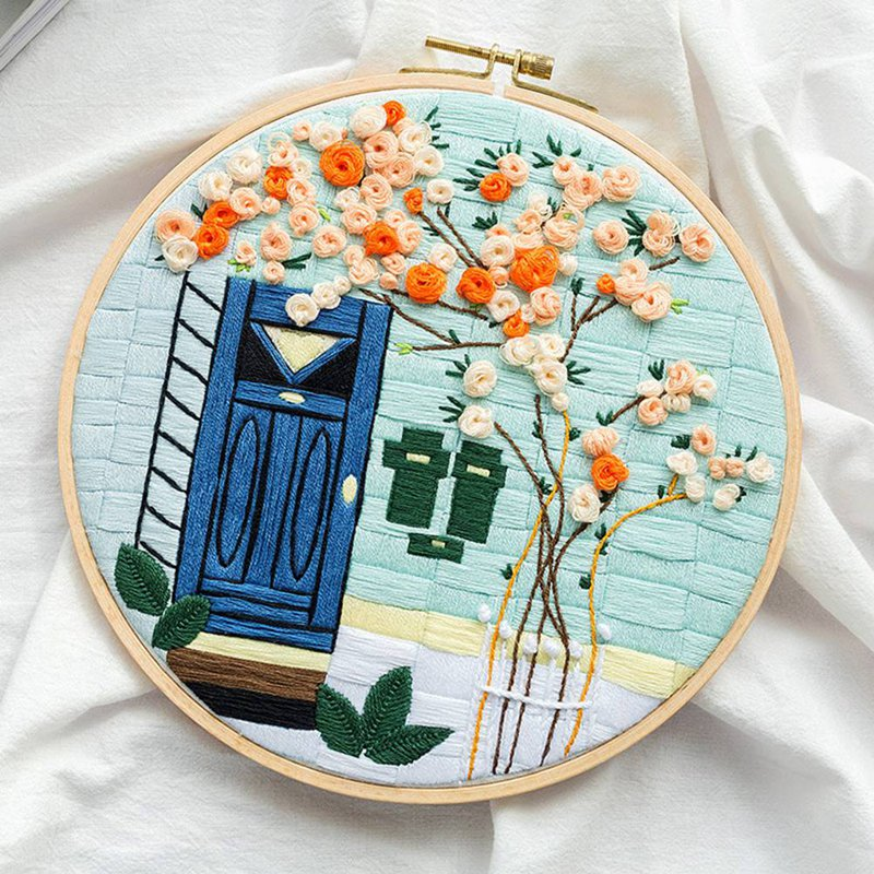 3D Embroidery DIY Cross Stitch Kits Cartoon Flower Patterns Needlework Set with Embroidery Hoop Handmade Arts Crafts Sewing Gift
